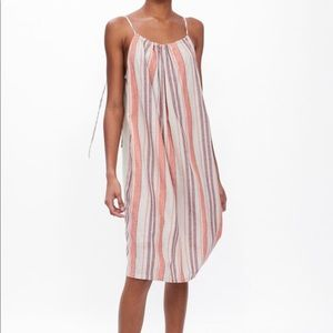 Zara Striped Rustic Cotton Linen Midi Dress